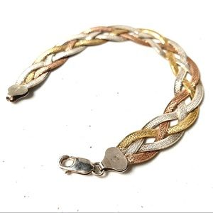 Gold, rose gold and silver plated bracelet